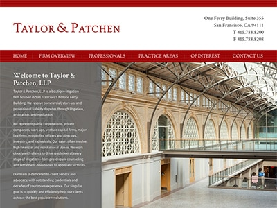 Law Firm Website design for Taylor & Patchen, LLP