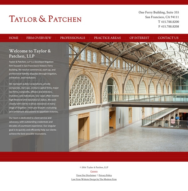 Law Firm Website for Taylor & Patchen, LLP
