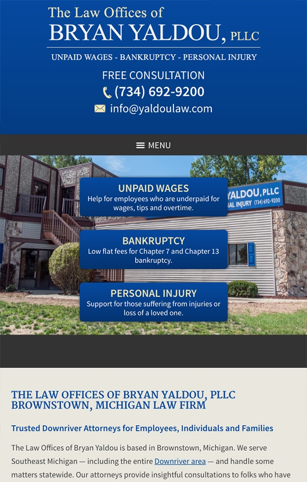 Mobile Friendly Law Firm Webiste for The Law Offices of Bryan Yaldou, PLLC