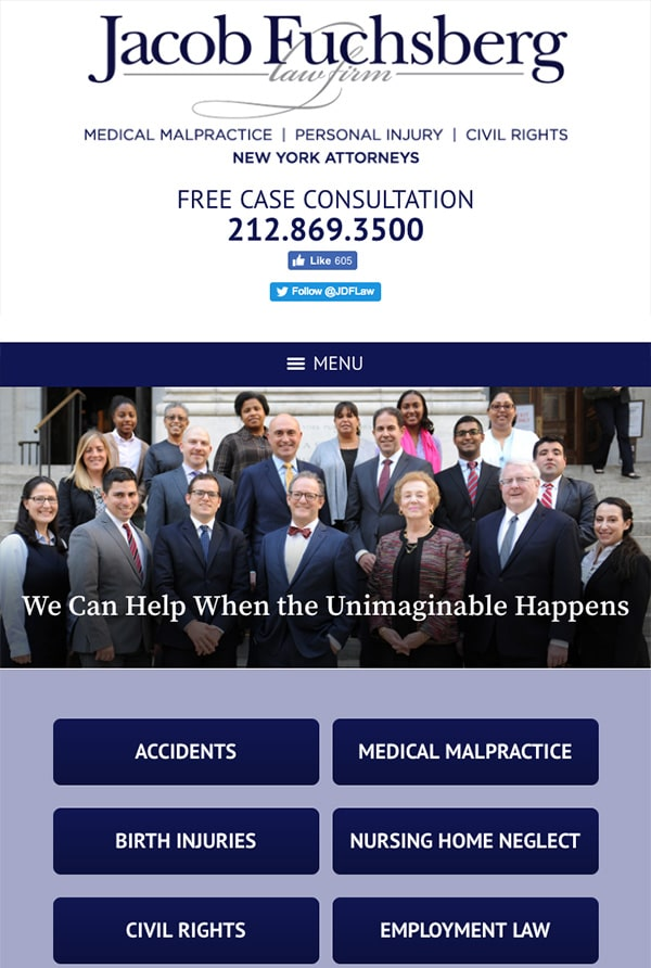 Mobile Friendly Law Firm Webiste for The Jacob Fuchsberg Law Firm