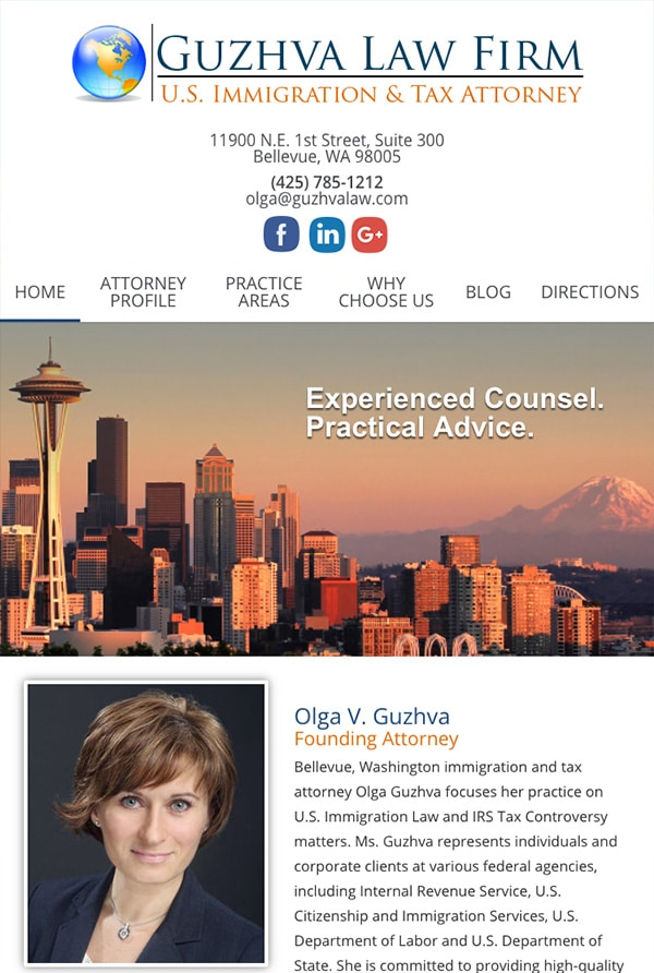 Mobile Friendly Law Firm Webiste for Guzhva Law Firm, PLLC