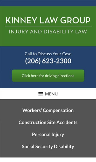 Responsive Mobile Attorney Website for Kinney Law Group