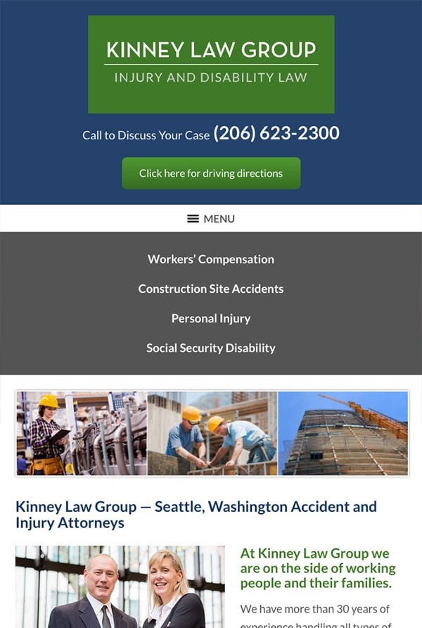 Mobile Friendly Law Firm Webiste for Kinney Law Group