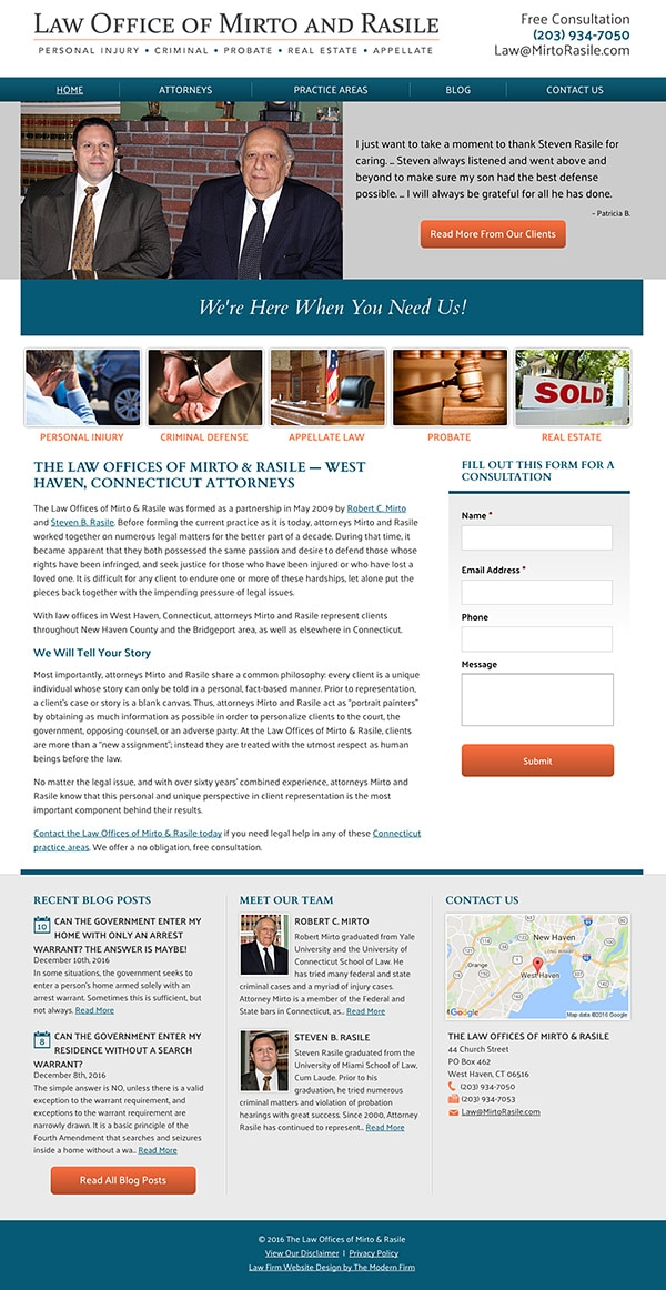 Law Firm Website Design for The Law Offices of Mirto & Rasile