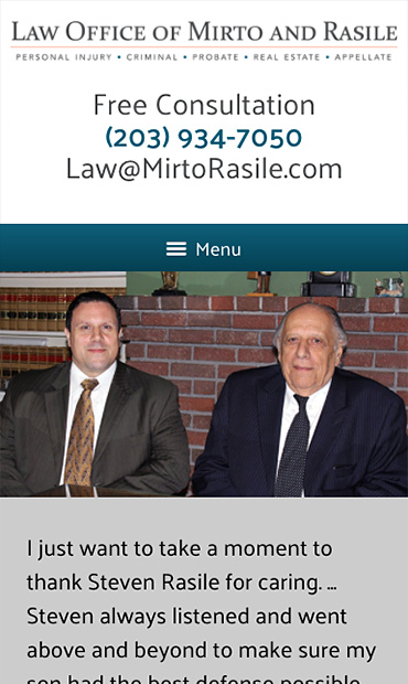 Responsive Mobile Attorney Website for The Law Offices of Mirto & Rasile