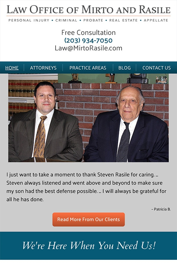 Mobile Friendly Law Firm Webiste for The Law Offices of Mirto & Rasile