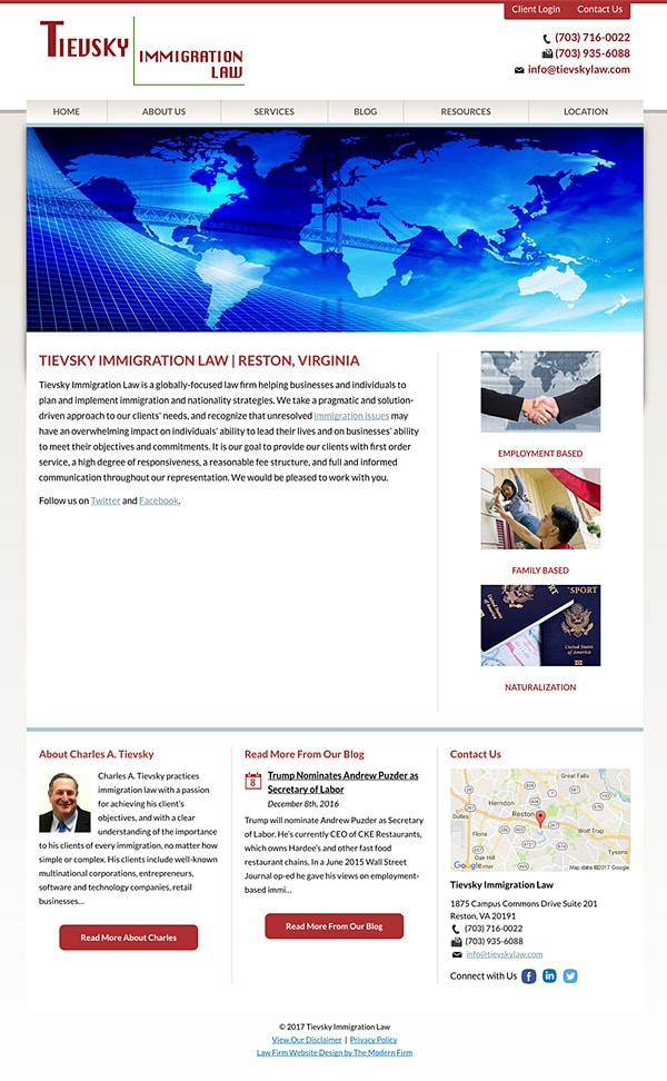 Law Firm Website Design for Tievsky Immigration Law
