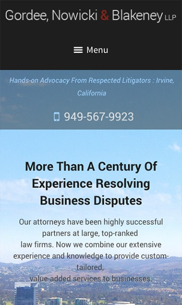 Responsive Mobile Attorney Website for Gordee, Nowicki & Blakeney LLP