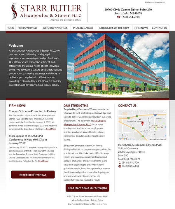 Law Firm Website for Starr, Butler, Alexopoulos & Stoner, PLLC