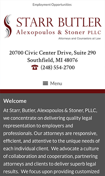 Responsive Mobile Attorney Website for Starr, Butler, Alexopoulos & Stoner, PLLC