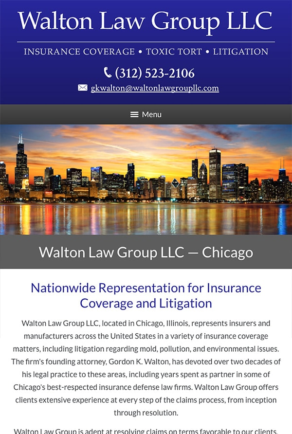 Mobile Friendly Law Firm Webiste for Walton Law Group LLC