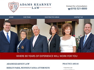 Law Firm Website design for Adams Kearney LLC