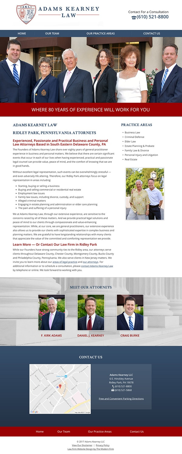 Law Firm Website for Adams Kearney LLC