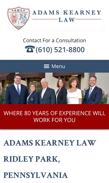Responsive Mobile Attorney Website for Adams Kearney LLC