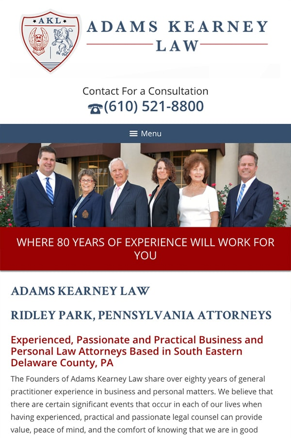 Mobile Friendly Law Firm Webiste for Adams Kearney LLC