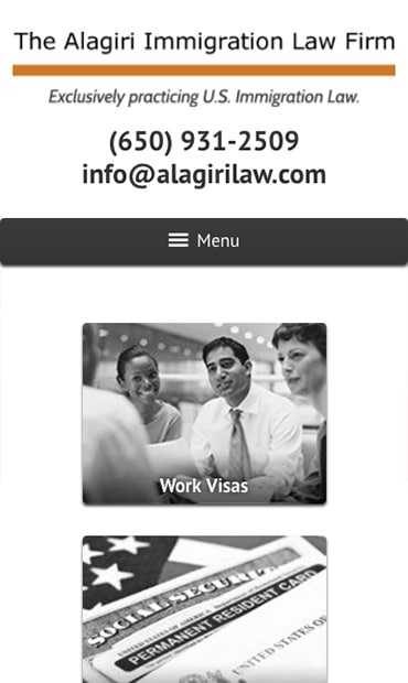 Responsive Mobile Attorney Website for The Alagiri Immigration Law Firm