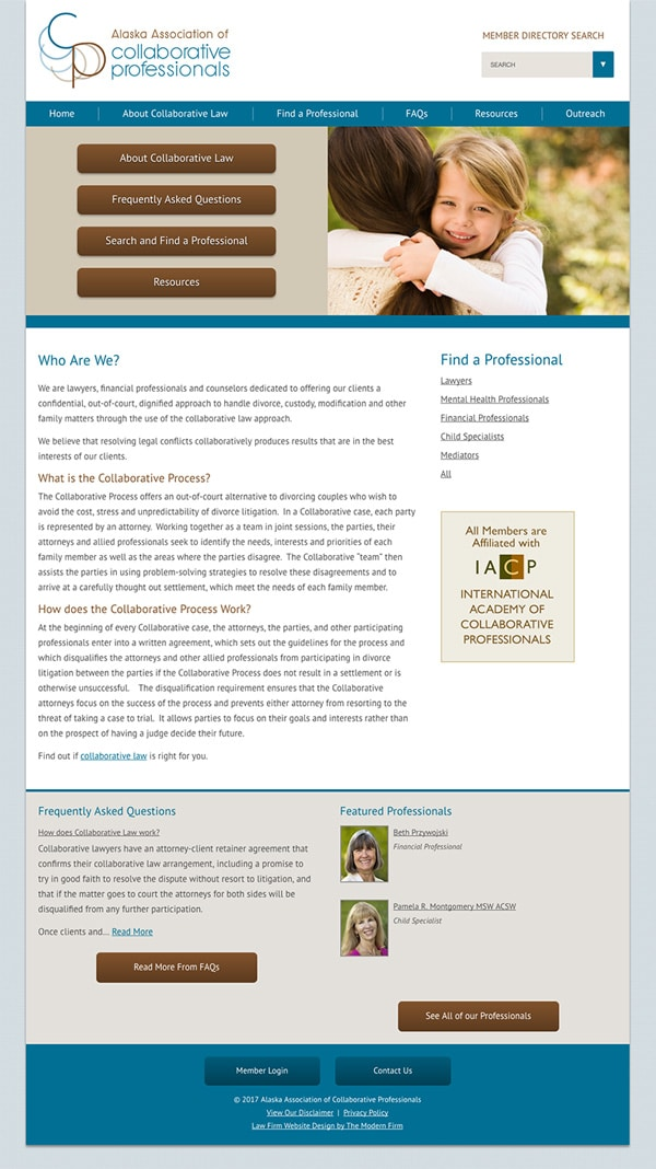 Law Firm Website for Alaska Association of Collaborative Professionals