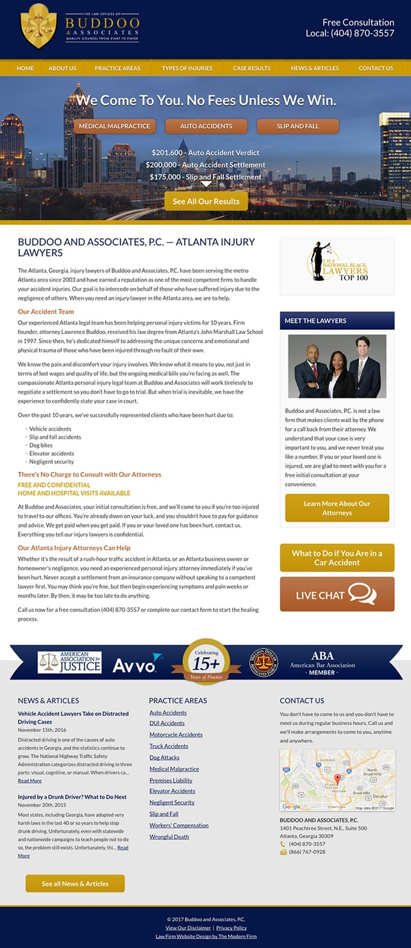 Law Firm Website Design for Buddoo and Associates, P.C.