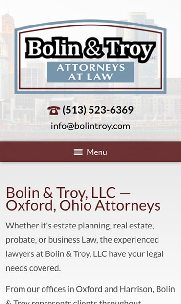 Responsive Mobile Attorney Website for Bolin & Troy, LLC