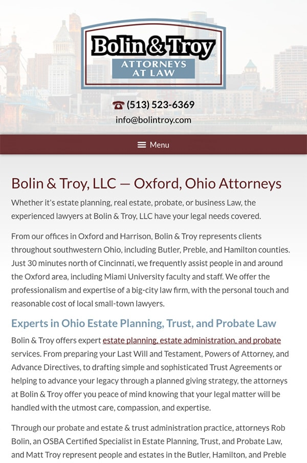 Mobile Friendly Law Firm Webiste for Bolin & Troy, LLC