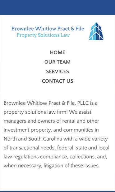 Responsive Mobile Attorney Website for Brownlee Whitlow Praet & File, PLLC