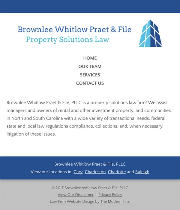 Mobile Friendly Law Firm Webiste for Brownlee Whitlow Praet & File, PLLC