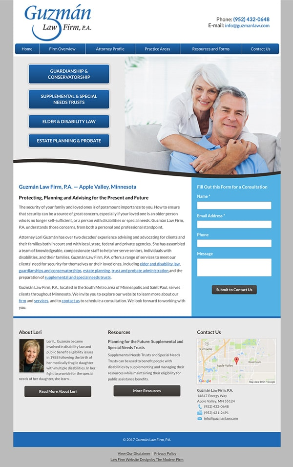 Law Firm Website for Guzman Law Firm, P.A.