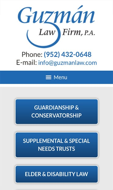 Responsive Mobile Attorney Website for Guzman Law Firm, P.A.