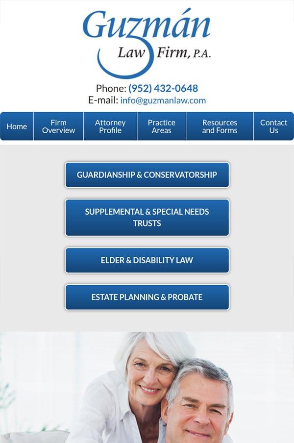 Mobile Friendly Law Firm Webiste for Guzman Law Firm, P.A.