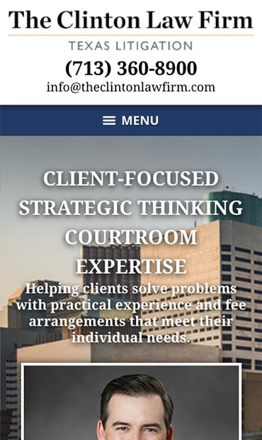 Responsive Mobile Attorney Website for The Law Office of Scot Clinton, PLLC