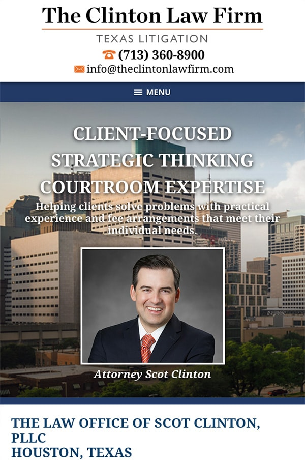 Mobile Friendly Law Firm Webiste for The Law Office of Scot Clinton, PLLC