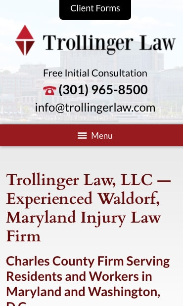 Responsive Mobile Attorney Website for Trollinger Law LLC
