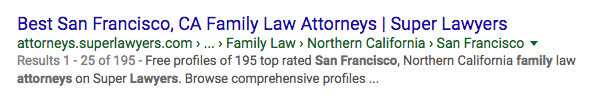 Super Lawyers Listing in Google Search Results