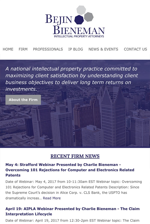 Mobile Friendly Law Firm Webiste for Bejin Bieneman, PLC