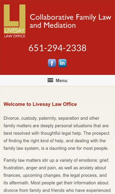 Responsive Mobile Attorney Website for Livesay Law Office