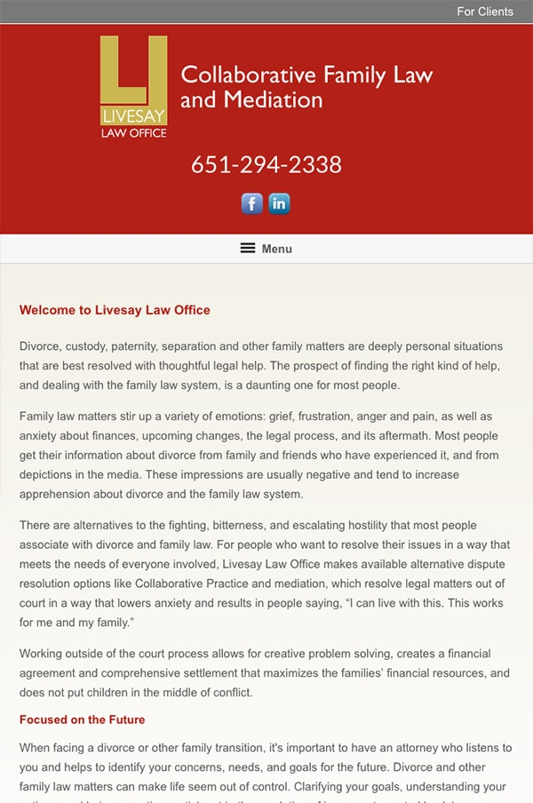 Mobile Friendly Law Firm Webiste for Livesay Law Office