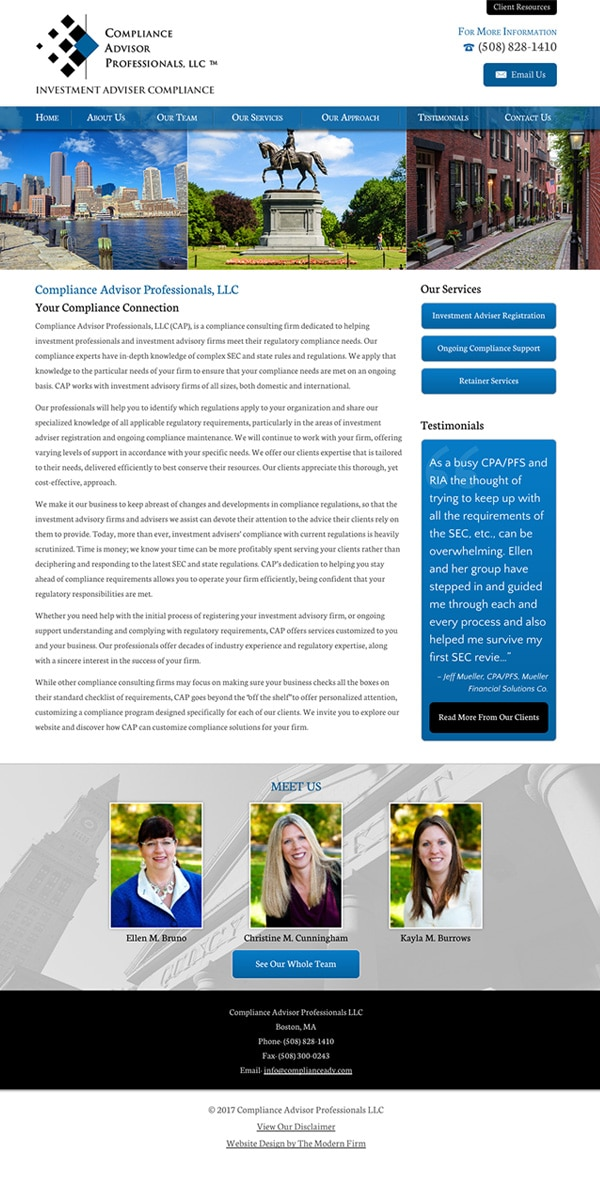 Law Firm Website Design for Compliance Advisor Professionals LLC