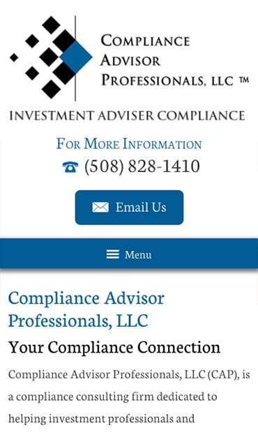 Responsive Mobile Attorney Website for Compliance Advisor Professionals LLC