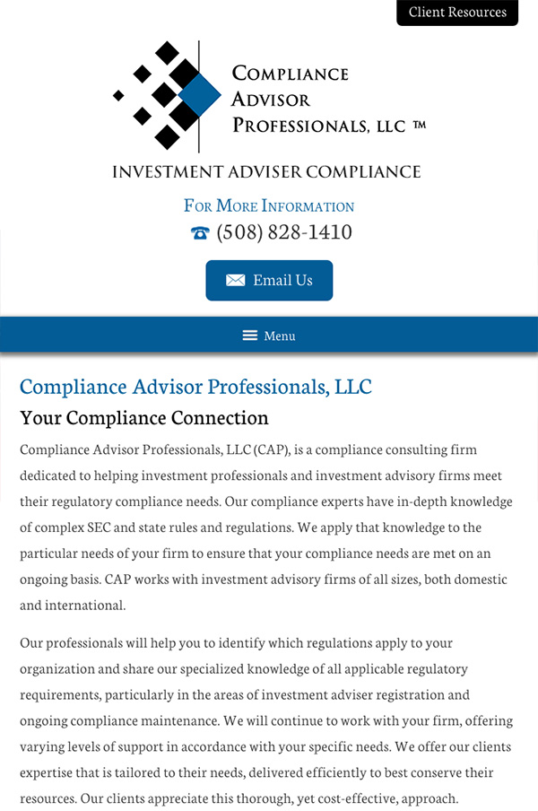 Mobile Friendly Law Firm Webiste for Compliance Advisor Professionals LLC