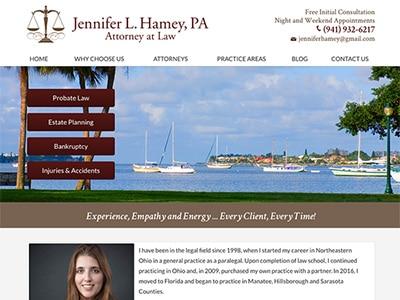 Law Firm Website design for Jennifer L. Hamey, PA