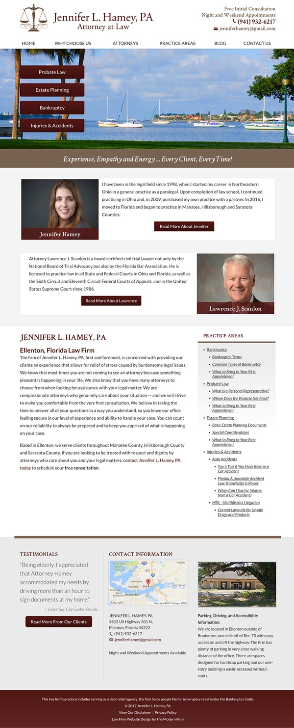 Law Firm Website Design for Jennifer L. Hamey, PA