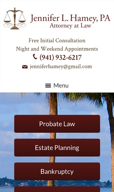 Responsive Mobile Attorney Website for Jennifer L. Hamey, PA