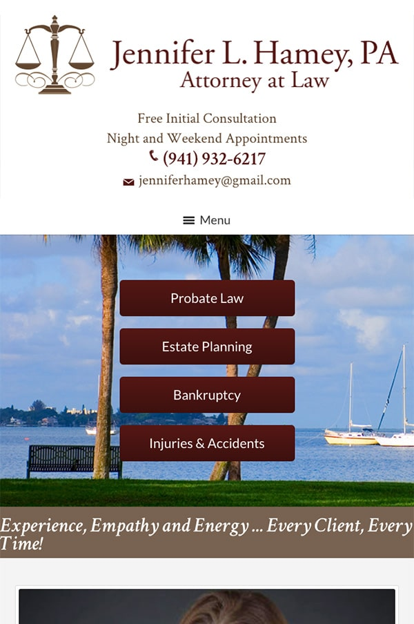 Mobile Friendly Law Firm Webiste for Jennifer L. Hamey, PA