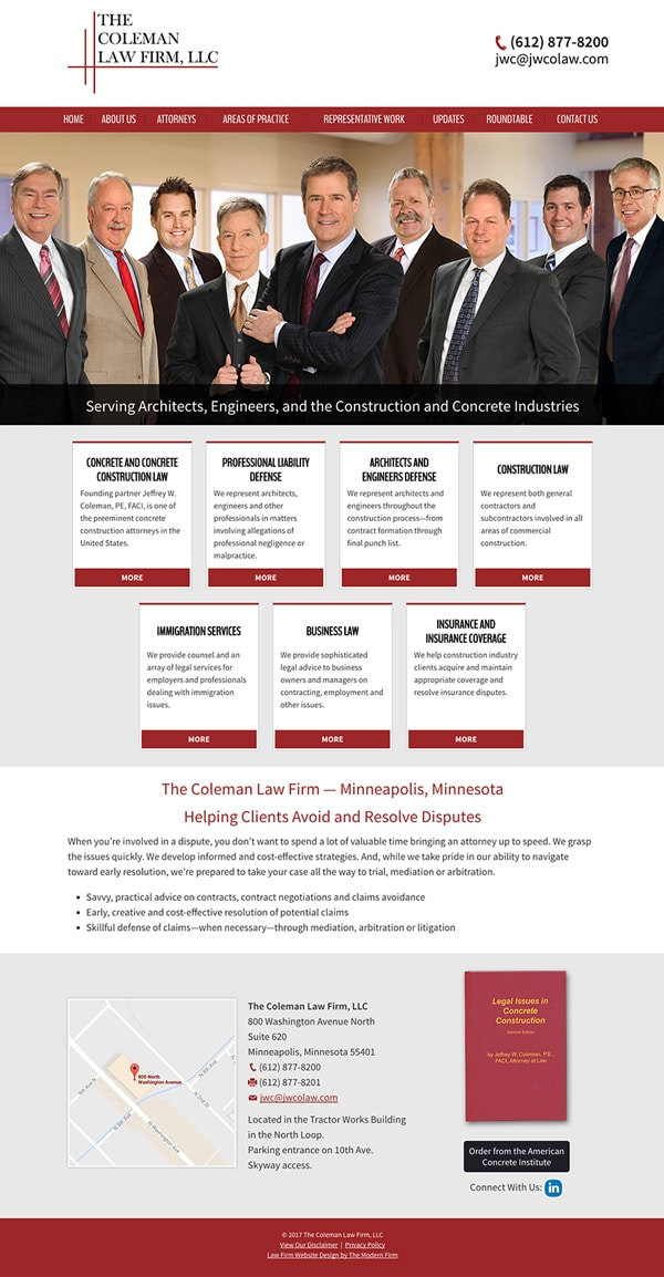 Law Firm Website Design for The Coleman Law Firm, LLC