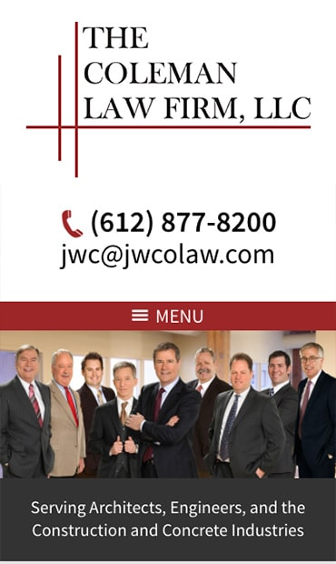 Responsive Mobile Attorney Website for The Coleman Law Firm, LLC