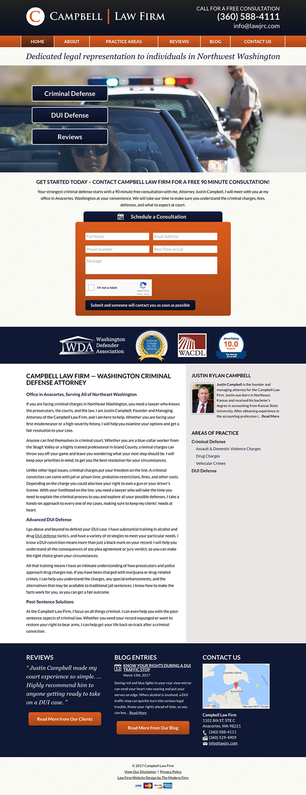 Law Firm Website for Campbell Law Firm