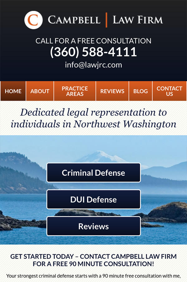 Mobile Friendly Law Firm Webiste for Campbell Law Firm