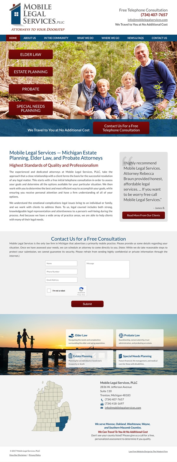 Law Firm Website Design for Mobile Legal Services, PLLC