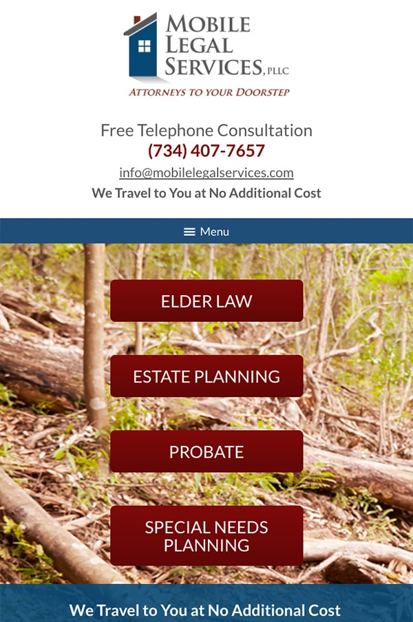 Mobile Friendly Law Firm Webiste for Mobile Legal Services, PLLC