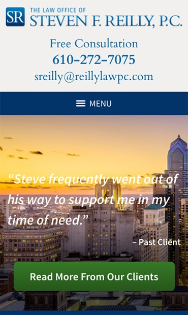 Responsive Mobile Attorney Website for Steven F. Reilly, PC
